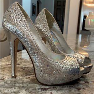 Silver rhinestone studded Heels